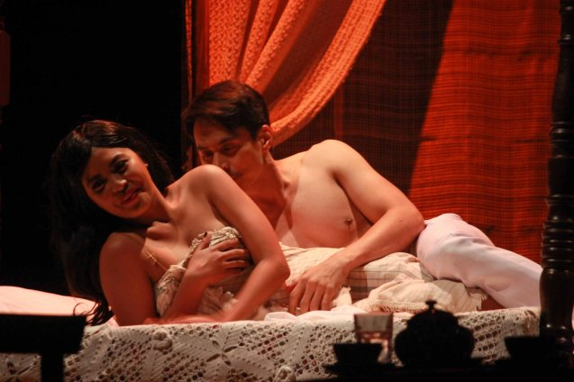 Lhorvie Nuevo (Elena) & Arnold Reyes (Señor Vicente). Catch Tanghalang Pilipino's adaptation of DANGEROUS LIASONS—JUEGO DE PELIGRO at CCP until March 8, 2015; Costumes by James Reyes. Photo by Jude Bautista