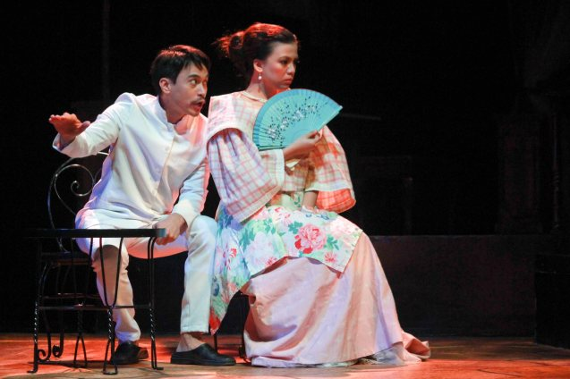 Arnold Reyes (Señor Vicente) & Adrienne Vergara (Cecilia). Catch Tanghalang Pilipino's adaptation of DANGEROUS LIASONS—JUEGO DE PELIGRO at CCP until March 8, 2015; Costumes by James Reyes. Photo by Jude Bautista