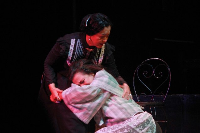 from left:  Shamaine Buencamino (Señora Margarita) & Adrienne Vergara (Cecilia). Catch Tanghalang Pilipino's adaptation of DANGEROUS LIASONS—JUEGO DE PELIGRO at CCP until March 8, 2015; Costumes by James Reyes. Photo by Jude Bautista