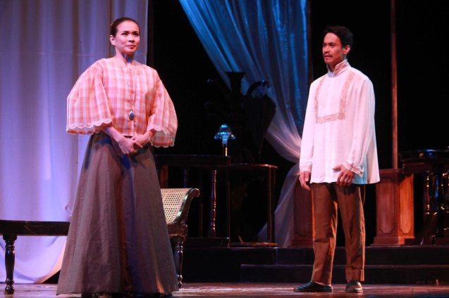 LJ Reyes (Señora Teresa) & Arnold Reyes (Señor Vicente). Catch Tanghalang Pilipino's adaptation of DANGEROUS LIASONS—JUEGO DE PELIGRO at CCP until March 8, 2015; Costumes by James Reyes. Photo by Jude Bautista