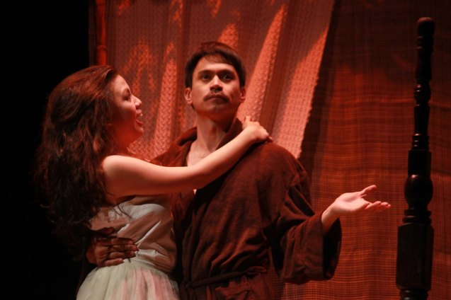 Adrienne Vergara (Cecilia) & Arnold Reyes (Señor Vicente). Catch Tanghalang Pilipino's adaptation of DANGEROUS LIASONS—JUEGO DE PELIGRO at CCP until March 8, 2015; Costumes by James Reyes. Photo by Jude Bautista