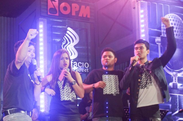 from left: Ogie Alcasid, Lara Maigue, Davey Langit and Christian Bautista. PALAKASIN ANG OPM COLLAB Sessions first 12-hour OPM festival was held at the Bonifacio High Street Amphitheatre, Bonifacio Global City Taguig last March 14, 2015. Photo by Jude Bautista