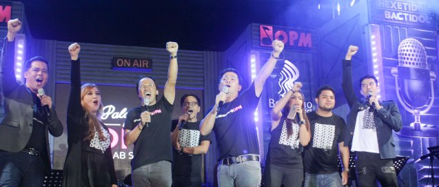 from left: Ding dong Avanzado, Casper Blancaflor, Noel Cabangon, Ebe Dancel, Ogie Alcasid, Lara Maigue, Davey Langit and Christian Bautista. PALAKASIN ANG OPM COLLAB Sessions first 12-hour OPM festival was held at the Bonifacio High Street Amphitheatre, Bonifacio Global City Taguig last March 14, 2015. Photo by Jude Bautista