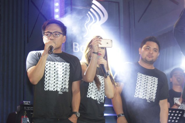 from left: Ebe Dancel, Lara Maigue & Davey Langit. PALAKASIN ANG OPM COLLAB Sessions first 12-hour OPM festival was held at the Bonifacio High Street Amphitheatre, Bonifacio Global City Taguig last March 14, 2015. Photo by Jude Bautista