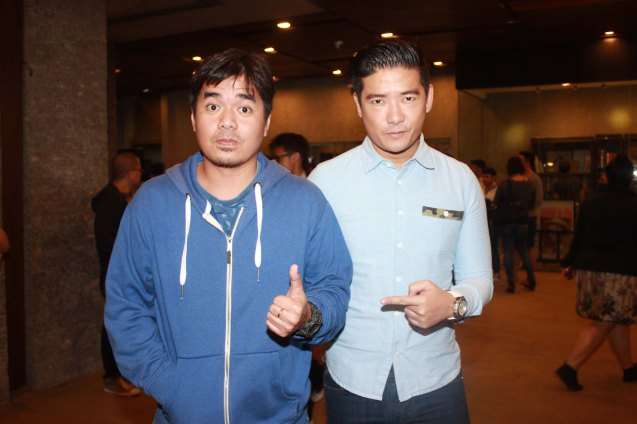 from left: Gloc 9 and Phil Star Editor Tim Yap. Catch Tanghalang Pilipino's adaptation of DANGEROUS LIASONS—JUEGO DE PELIGRO at CCP until March 8, 2015; Costumes by James Reyes. Photo by Jude Bautista