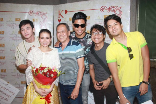 from left: Lharby Policarpio (Daniel), LJ Reyes (Señora Teresa), TP Artistic Director Nanding Josef, Jerald Napoles, Nicco Manalo and Alex Medina. Catch Tanghalang Pilipino's adaptation of DANGEROUS LIASONS—JUEGO DE PELIGRO at CCP until March 8, 2015; Costumes by James Reyes. Photo by Jude Bautista