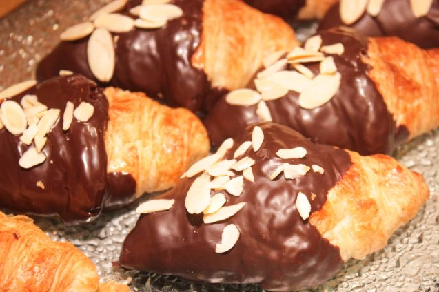 Choco Dipped Croissant topped with Almonds from EPICURIOUS lower ground level East wing. Try out designer coffee and listen to great jazz in COFFEE TEA AND ALL THAT JAZZ AT THE SHANG, East Atrium of the Shangri-La Plaza Mall from March 20-29, 2015. Photo by Jude Bautista