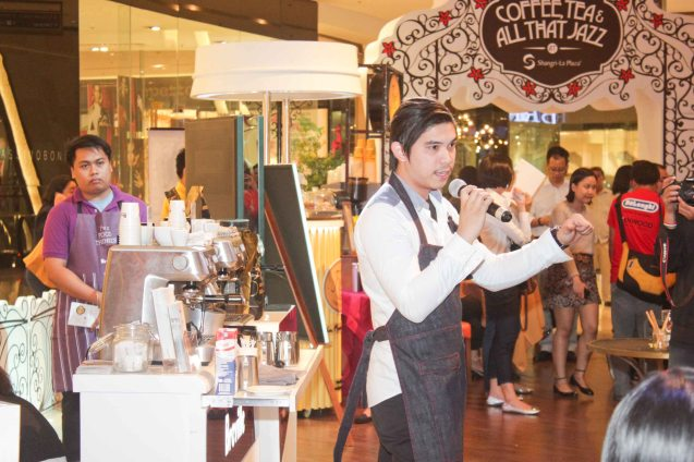 Breville rep demonstrates how to get the perfect cup of coffee. Try out designer coffee and listen to great jazz in COFFEE TEA AND ALL THAT JAZZ AT THE SHANG, East Atrium of the Shangri-La Plaza Mall from March 20-29, 2015. Photo by Jude Bautista