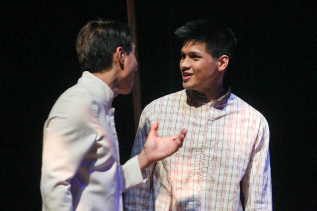 from left: Arnold Reyes (Señor Vicente) & Vin Abrenica (Daniel). Tanghalang Pilipino's adaptation of DANGEROUS LIAISONS—JUEGO DE PELIGRO at CCP was a huge hit watch out for its next run; Costumes by James Reyes. Photo by Jude Bautista