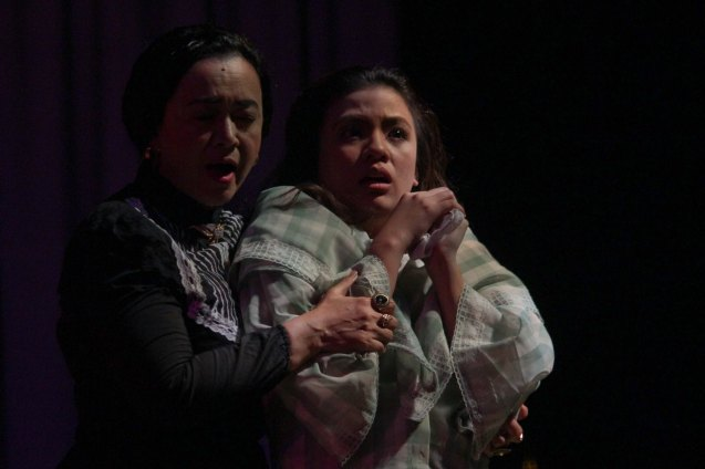 from left: Shamaine Buencamino (Señora Margarita) & Adrienne Vergara (Cecilia). Tanghalang Pilipino's adaptation of DANGEROUS LIAISONS—JUEGO DE PELIGRO at CCP was a huge hit watch out for its next run; Costumes by James Reyes. Photo by Jude Bautista
