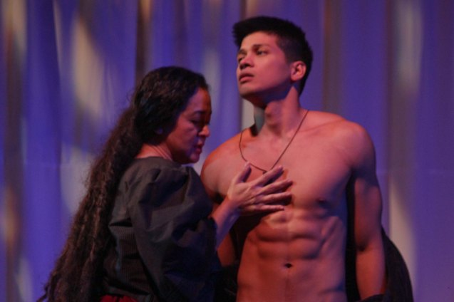 Shamaine Buencamino (Señora Margarita) & Vin Abrenica (Daniel). Tanghalang Pilipino's adaptation of DANGEROUS LIAISONS—JUEGO DE PELIGRO at CCP was a huge hit watch out for its next run; Costumes by James Reyes. Photo by Jude Bautista