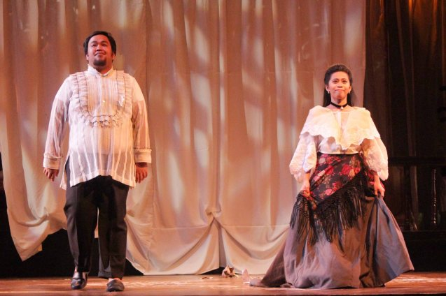 Jonathan Tadioan (Anton) & Sasa Cabalquinto (Adela). Catch Tanghalang Pilipino's adaptation of DANGEROUS LIAISONS—JUEGO DE PELIGRO at CCP until March 8, 2015, watch out for its next run; Costumes by James Reyes. Photo by Jude Bautista