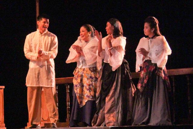 from left: Vin Abrenica (Daniel), Racquel Pareno (Señora Violeta), Lhorvie Nuevo (Elena) & Sasa Cabalquinto (Adela). Tanghalang Pilipino's adaptation of DANGEROUS LIAISONS—JUEGO DE PELIGRO at CCP was a huge hit watch out for its next run; Costumes by James Reyes. Photo by Jude Bautista