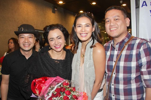 from left: Costume Designer James Reyes, Shamaine Buencamino (Señora Margarita), Angel Aquino & Playwright/Filipino Adaptation Elmer Gatchalian. Tanghalang Pilipino's adaptation of DANGEROUS LIAISONS—JUEGO DE PELIGRO at CCP was a huge hit watch out for its next run; Costumes by James Reyes. Photo by Jude Bautista