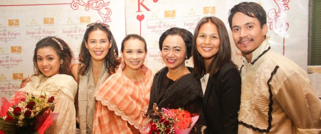 from left: Adrienne Vergara (Cecilia), Angel Aquino, LJ Reyes (Señora Teresa), Shamaine Buencamino (Señora Margarita), Iza Calzado & Arnold Reyes (Señor Vicente). Tanghalang Pilipino's adaptation of DANGEROUS LIAISONS—JUEGO DE PELIGRO at CCP was a huge hit watch out for its next run; Costumes by James Reyes. Photo by Jude Bautista