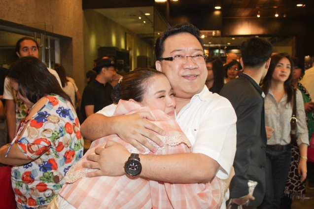 Pal Roderick Paulate hugs LJ Reyes (Señora Teresa) after the last show. Tanghalang Pilipino's adaptation of DANGEROUS LIAISONS—JUEGO DE PELIGRO at CCP was a huge hit watch out for its next run; Costumes by James Reyes. Photo by Jude Bautista