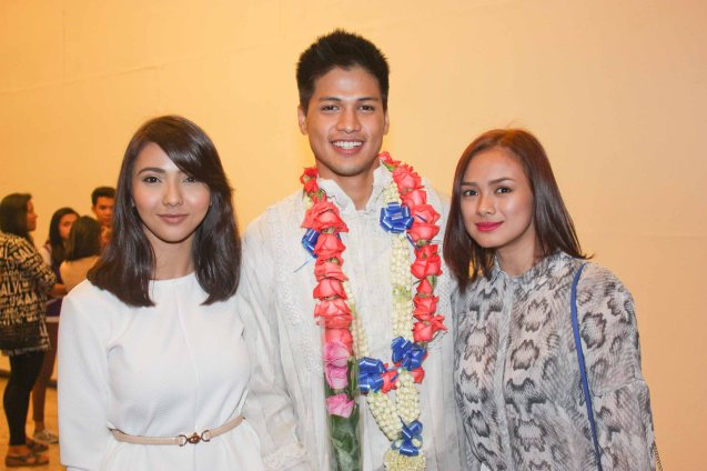 TV5 beauties from left: Malak So Shdifat & Eula Caballero with Vin Abrenica (Daniel). Tanghalang Pilipino's adaptation of DANGEROUS LIAISONS—JUEGO DE PELIGRO at CCP was a huge hit watch out for its next run; Costumes by James Reyes. Photo by Jude Bautista