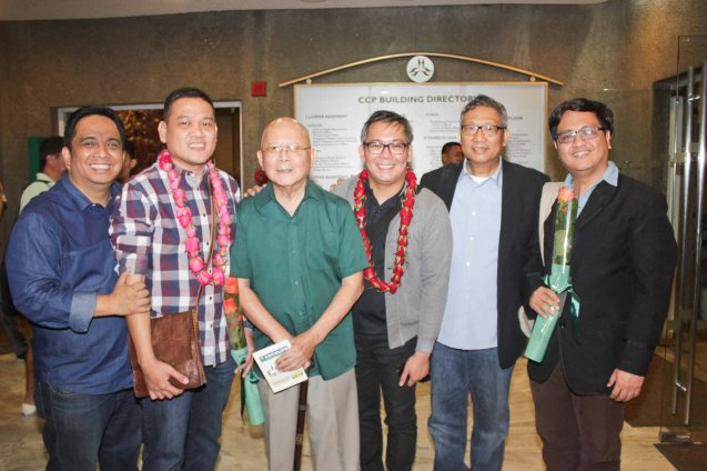 from left: Noel Ferrer, Playwright/Filipino Adaptation Elmer Gatchalian, Natl Artist for Literature Bien Lumbera, Director & Set Desgner Tuxqs Rutaquio, Dr Nick Tiongson and JUEGO Sound Designer Jed Balsamo. Tanghalang Pilipino's adaptation of DANGEROUS LIAISONS—JUEGO DE PELIGRO at CCP was a huge hit watch out for its next run; Costumes by James Reyes. Photo by Jude Bautista