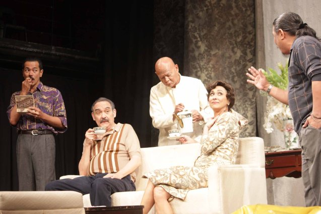 from left: Jake Macapagal  (Adjie), Leo Rialp (Chitong), Bembol, Cherie Gil (Señora Rica) and Raffy Tejada (Nonoy Tiking). Catch Arbol De Fuego's last weekend March 14 & 15, 2015 at the PETA Theater Center. Photo by Jude Bautista