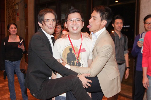 Presenting the Mysterious 3rd Party (Center) Adrian Lontoc was not shown in KASAL but he was the source of jealous fights between lovers from left Oliver Aquino (Paolo) and Arnold Reyes (Sherwin). Looking at Adrian I now understand director Jay Altarejos' decision to NOT include him in the film. Photo was taken after the KASAL gala at the CCP main theater August 5, 2014 by Jude Bautista.