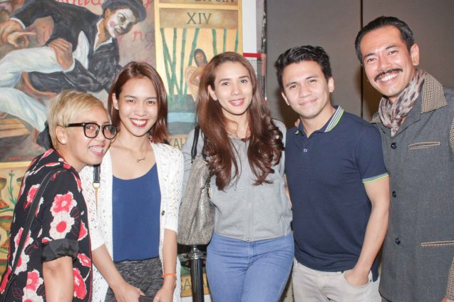 Celeb guests from left: RAK F AEGIS Kaki Bautista, Aicelle Santos, IT couple Karylle, Yael Yuzon and Jake Macapagal (Adjie). Catch Arbol De Fuego's last weekend March 14 & 15, 2015 at the PETA Theater Center. Photo by Jude Bautista