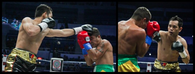 Donaire's jab gets through Prado's defense. PINOY PRIDE 30 D-Day was held at the SMART Araneta Coliseum last March 28, 2015. Photo by Jude Bautista