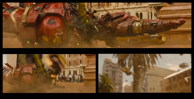 top: Hulkbuster's left arm twists 180 degrees to land a punch behind him and tosses HULK up in the air. Catch Avengers Age of Ultron at Newport Cinemas in Resort's World, EASTWOOD City Mall, Lucky China Town Mall and Shang Rila Plaza mall.