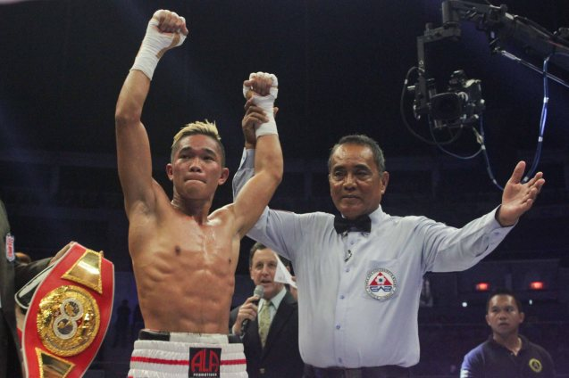 Prince Albert Pagara successfully defends his IBF Intercontinental Jr Featherweight Belt. PINOY PRIDE 30 D-Day was held at the SMART Araneta Coliseum last March 28, 2015. Photo by Jude Bautista
