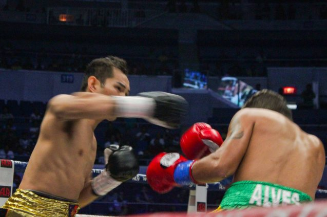 Nonito Donaire Jr's deadly right hook lands; PINOY PRIDE 30 D-Day was held at the SMART Araneta Coliseum last March 28, 2015. Photo by Jude Bautista