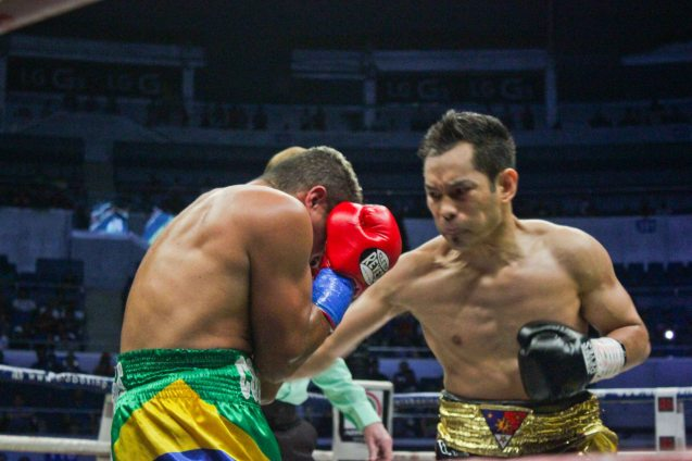 Donaire lands brutal body shot while Prado no longer intelligently defending himself. PINOY PRIDE 30 D-Day was held at the SMART Araneta Coliseum last March 28, 2015. Photo by Jude Bautista