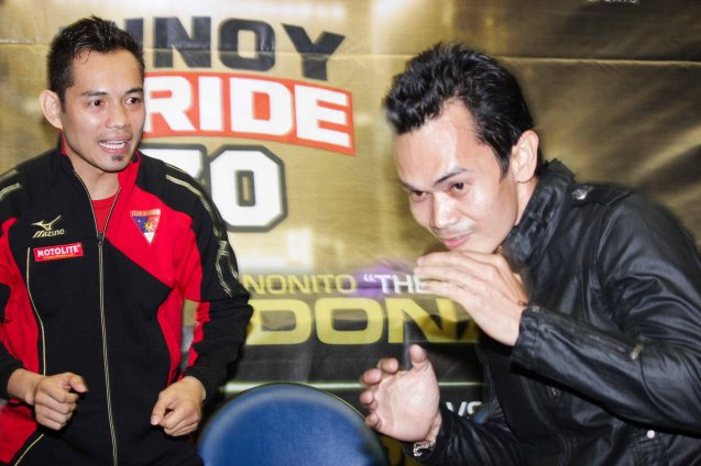 Nonito's impersonator shadow boxes in front of his idol. PINOY PRIDE 30 D-Day was held at the SMART Araneta Coliseum last March 28, 2015. Photo by Jude Bautista