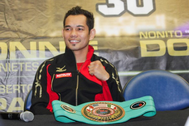 Donaire poses w NABF Belt. PINOY PRIDE 30 D-Day was held at the SMART Araneta Coliseum last March 28, 2015. Photo by Jude Bautista