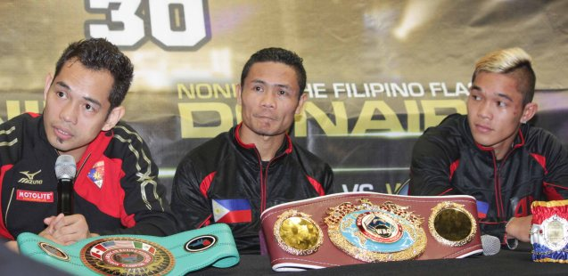 3 champs from left: Nonito Donaire Jr (NABF Super Bantamweight Champ), Donnie Nietes (WBO World Jr Flyweight Champ)  & Prince Albert Pagara (IBF Intercontinental Jr Featherweight Champ). PINOY PRIDE 30 D-Day was held at the SMART Araneta Coliseum last March 28, 2015. Photo by Jude Bautista
