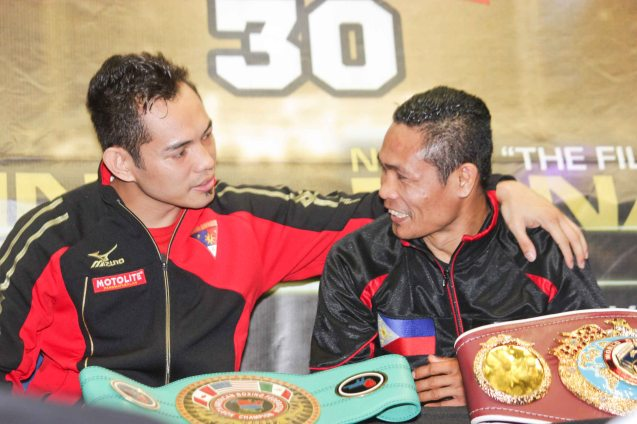 from left: Nonito Donaire Jr (NABF Super Bantamweight Champ) & Donnie Nietes (WBO World Jr Flyweight Champ). PINOY PRIDE 30 D-Day was held at the SMART Araneta Coliseum last March 28, 2015. Photo by Jude Bautista