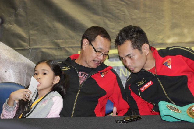 Nonito confers w dad and Coach Nonito Donaire Sr. PINOY PRIDE 30 D-Day was held at the SMART Araneta Coliseum last March 28, 2015. Photo by Jude Bautista