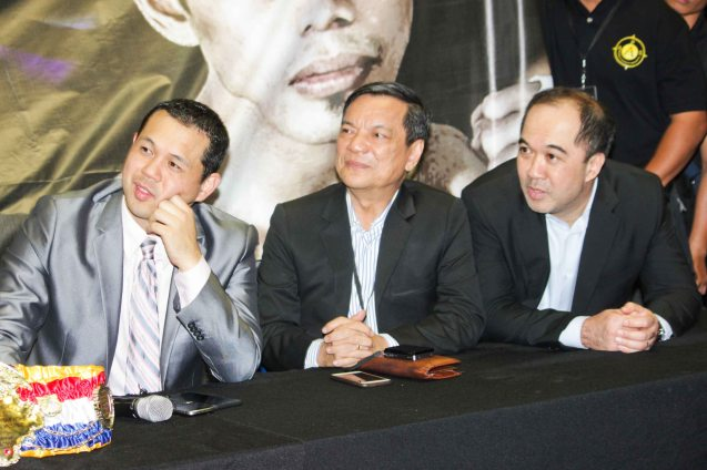 from right: ABS CBN Head Integrated Sports Dino Laurena, ABS CBN Sports Consultant/Head of MNL Radio Div Peter Musngi and ALA Promotions Pres. & CEO Michael Aldeguer. PINOY PRIDE 30 D-Day was held at the SMART Araneta Coliseum last March 28, 2015. Photo by Jude Bautista