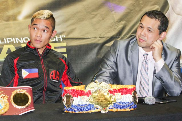 from left: Prince Albert Pagara (IBF Intercontinental Jr Featherweight Champ), & ALA Promotions Pres. & CEO Michael Aldeguer. PINOY PRIDE 30 D-Day was held at the SMART Araneta Coliseum last March 28, 2015. Photo by Jude Bautista