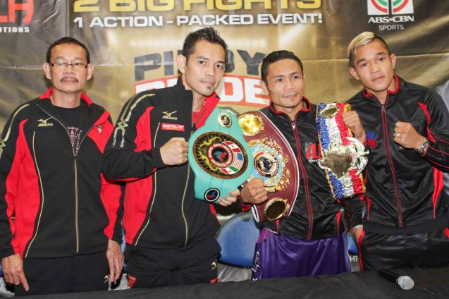 from right: Prince Albert Pagara (IBF Intercontinental Jr Featherweight Champ), Donnie Nietes (WBO World Jr Flyweight Champ), Nonito Donaire Jr (NABF Super Bantamweight Champ) and Coach/trainer Nonito Donaire Sr. PINOY PRIDE 30 D-Day was held at the SMART Araneta Coliseum last March 28, 2015. Photo by Jude Bautista