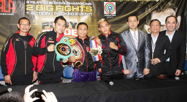 from right: ABS CBN Head Integrated Sports Dino Laurena, ABS CBN Sports Consultant/Head of MNL Radio Div Peter Musngi, ALA Promotions Pres. & CEO Michael Aldeguer, Prince Albert Pagara (IBF Intercontinental Jr Featherweight Champ), Donnie Nietes (WBO World Jr Flyweight Champ), Nonito Donaire Jr (NABF Super Bantamweight Champ) and Coach/trainer Nonito Donaire Sr. PINOY PRIDE 30 D-Day was held at the SMART Araneta Coliseum last March 28, 2015. Photo by Jude Bautista