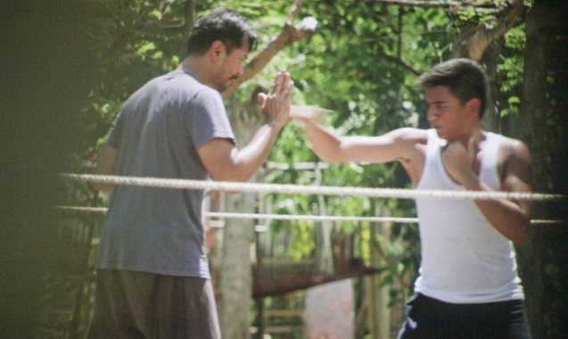 Dizon (Jake Macapagal) trains his son Abner (Jomari Angeles). After KID KULAFU's successful run in the Philippines it will also be released in the U.S. and Canada. Click on this link for cities and release dates: http://abscbnpr.com/untold-story-of-manny-pacquiao-revealed-in-kid-kulafu/