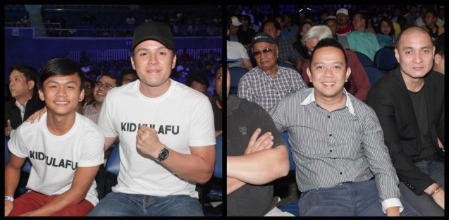 from left: Buboy Villar & Direk Paul Soriano was ringside to promote their boxing film KID KULAFU showing April 15, 2015 in cinemas nationwide. / center in striped shirt: Moymoy Macasero was part of the team that performed 'Filipinoflash' walk out song along with Bassilyo and Crazymix. PINOY PRIDE 30 D-Day was held at the SMART Araneta Coliseum last March 28, 2015. Photo by Jude Bautista
