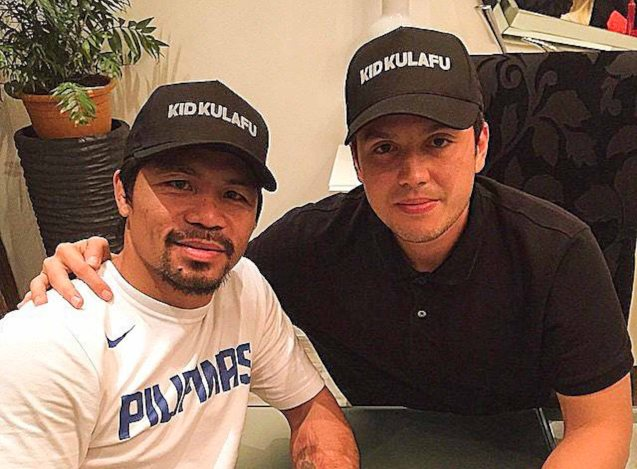 from left: Manny Pacquiao & Director Paul Soriano; After KID KULAFU's successful run in the Philippines it will also be released in the U.S. and Canada. Click on this link for cities and release dates: http://abscbnpr.com/untold-story-of-manny-pacquiao-revealed-in-kid-kulafu/