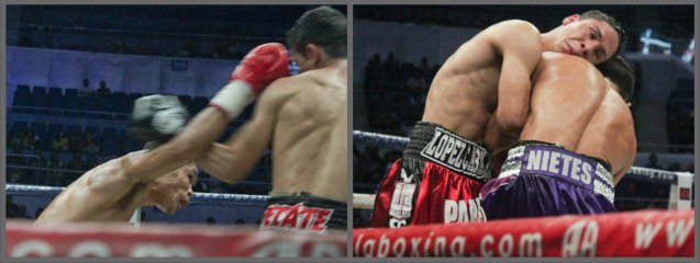 from left: Another heavy right hand lands for Nietes. Parra has no choice but to clinch to stop the onslaught. PINOY PRIDE 30 D-Day was held at the SMART Araneta Coliseum last March 28, 2015. Photo by Jude Bautista