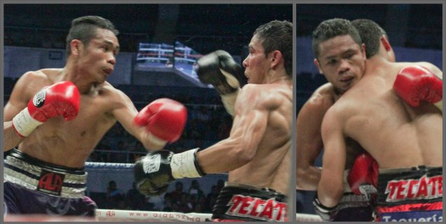 From left: Donnie Nietes lands hard combo, which forces Parra to clinch once again. PINOY PRIDE 30 D-Day was held at the SMART Araneta Coliseum last March 28, 2015. Photo by Jude Bautista