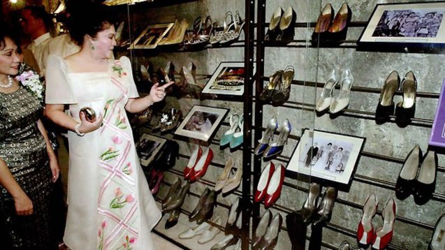 Congressman Imelda Marcos visits her collection at the opening of the Marikina Shoe Museum February 16, 2001. Photo from http://www.news.com.au/world/years-of-neglect-have-destroyed-imelda-marcos-legendary-shoe-collection/story-fndir2ev-1226479773574