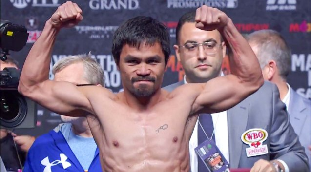Manny Pacquiao during the weigh in