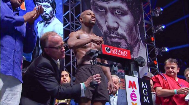 Floyd Mayweather Jr during the weigh in