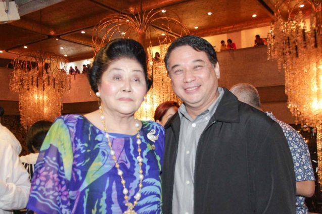 Cong. Imelda Marcos with Ricky Davao who plays master shoemaker Romeo Guevara. Photo was taken during MARIQUINA Cinemalaya gala night last August 2014 at the CCP. Photo by Jude Bautista