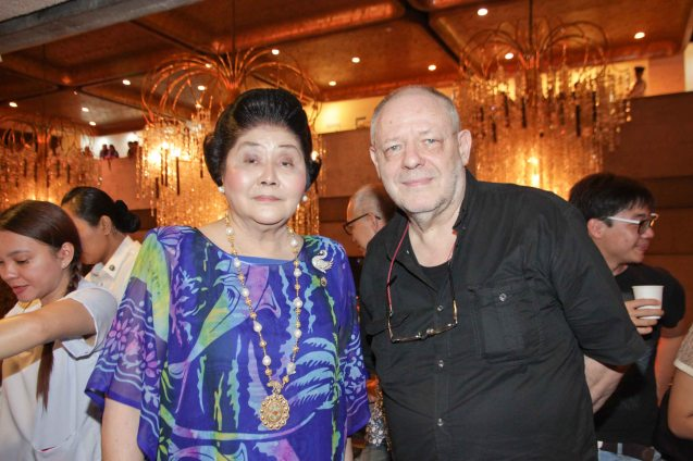 Cong. Imelda Marcos with Film Auteur Max Tessier. Photo was taken during MARIQUINA Cinemalaya gala night last August 2014 at the CCP. Photo by Jude Bautista