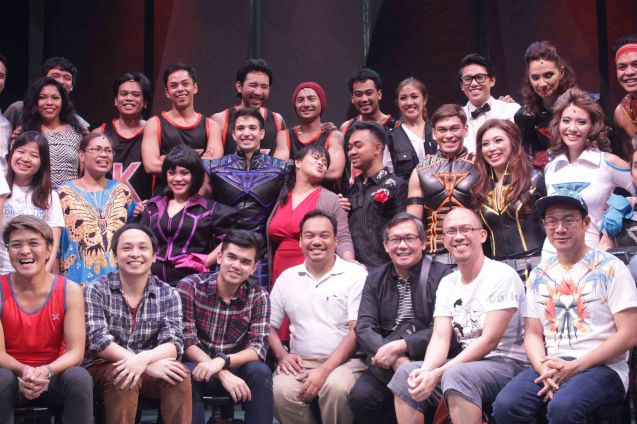 Cast & Creative team foreground from right: Director Chris Martinez, Playwright Carlo Vergara, Set designer Tuxqs Rutaquio, Asst Musical Dir. Ejay Yatco, Sound Designer Jethro Joaquin, Producer Pertee Briñas and Musical Director/Composer Vincent De Jesus. Dalanghita productions' KUNG PAANO AKO NAGING LEADING LADY will run in PETA from May 9 to June 7, 2015. Photo By Jude Bautista
